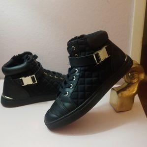 Black cushion high top sneakers